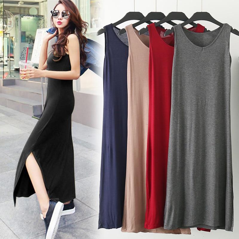 DANJEANER Maxi T Shirt Dress Women Summer Beach Casual Sexy Boho Elegant Vintage Bandage Bodycon Wrap Black Split Long Dresses