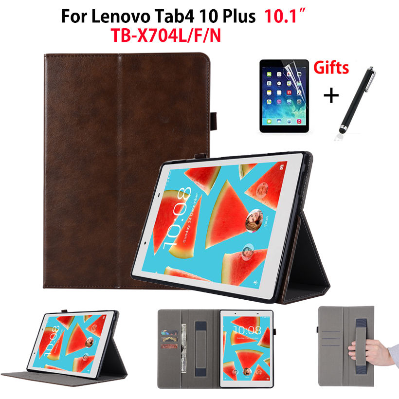 Case For Lenovo TAB4 Tab 4 10 Plus TB-X704L Cases 10.1 TB-X704F TB-X704N Cover Funda Tablet Hand Belt Holder Shell+Film+Stylus high quality folio pu leather case cover for lenovo tab 4 10 plus tb x704f x704n 10 1 inch tablet stylus film