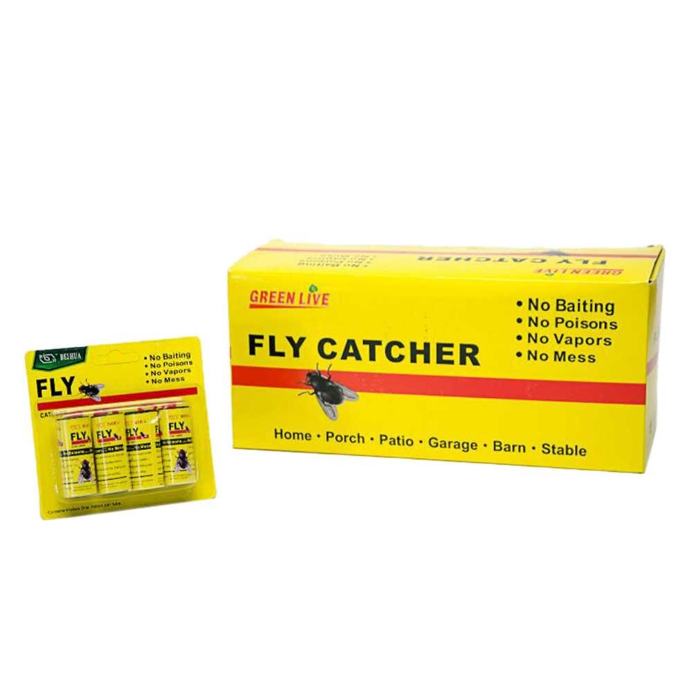 16 ม้วน = 4 แพ็คแมลง Bug Fly กาวกระดาษดักจับริบบิ้นแถบ Fies Sticky