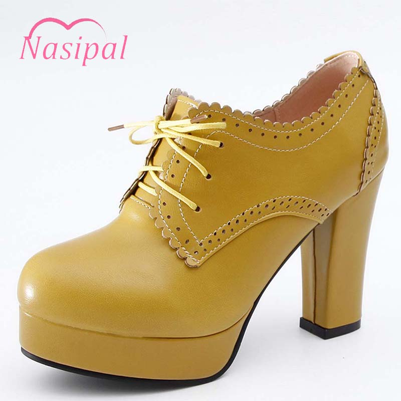 Pompes Taille Rétro 32 De Lacets Grande Britannique Beige Talons Femmes apricot Carré Style Lady forme jaune Plate Haute À noir 43 Chaussures Nasipal M222 Cp5n8t