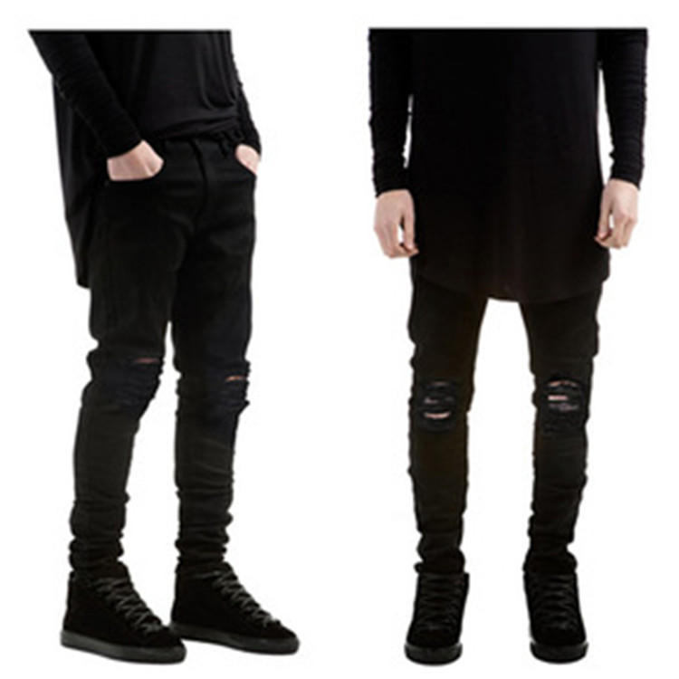 summer style Mens Destroyed Denim Jeans slim hole black strech ripped jeans  for men casual skinny - Compare Prices On Ripped Jeans For Men Skinny Slim Ripped- Online