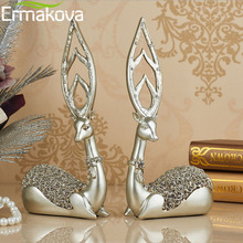 ERMAKOVA 2 Pcs/Pair 32cm(12.6″)Resin Deer Figurine Fawn Statue Sculpture Deer Statue Wedding Gift Home Wine Cabinet Decor