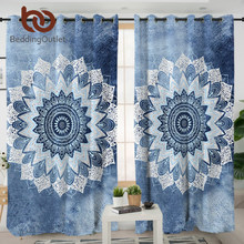 BeddingOutlet Mandala Living Room Curtain Cobalt Blue Floral Blackout Curtains Hippie Gypsy Bohemian Drapes 1pc cortinas(China)
