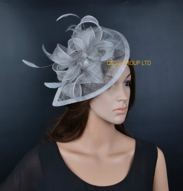 8fbbe9fee10c0 NEW LT silver HOT Sinamay Fascinator Hat for Weeding