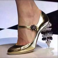 Studded women high heel glitter shoes with strap 9.5 cm high designer heels gem decoration women gold silver shoes lace up heels
