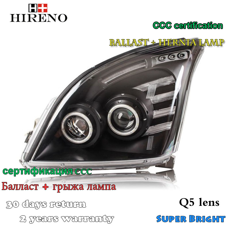 Hireno Headlamp for 2003-2009 Toyota Land Cruiser Prado Headlight Assembly LED DRL Angel Lens Double Beam HID Xenon 2pcs 2pcs purple blue red green led demon eyes for bixenon projector lens hella5 q5 2 5inch and 3 0inch headlight angel devil demon
