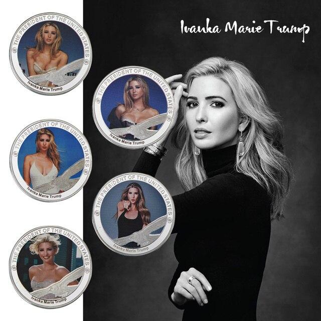 WR modelo famoso Ivanka Marie Trump plateado moneda conmemorativa decoración del hogar 5 piezas Moneda de desafío para regalos de navidad
