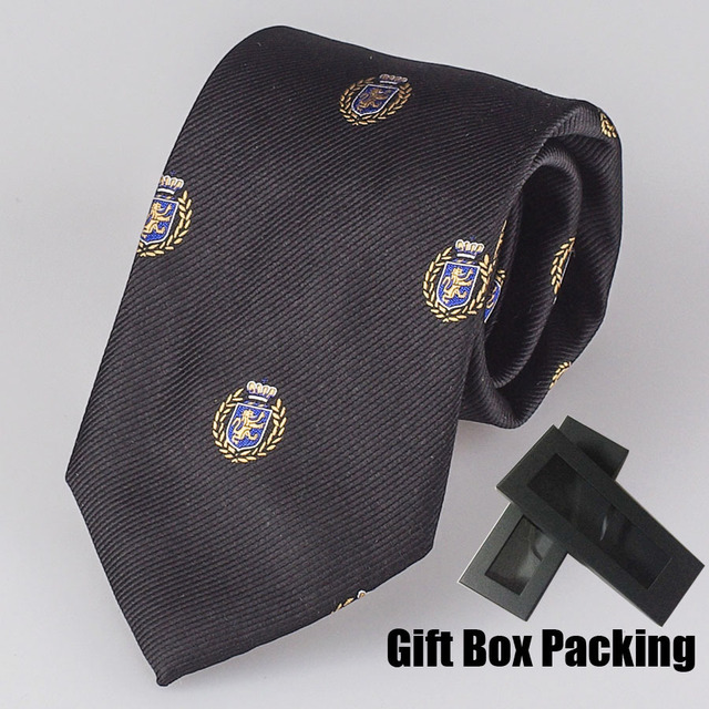 Leão padrão gravata de marca italiana de Luxo 100% Seda gravata para combinar com uniforme