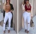 2015 Jeans de MODA Mujer Rodilla Flaco Pantalones Lápiz Delgado Denim Ripped Boyfriend Jeans Para Mujeres Blanco Ripped Jeans Vestidos