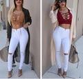 2015 calças de Brim DA FORMA da Mulher Do Joelho Lápis Calças Skinny Slim Denim Jeans Rasgados Boyfriend Jeans Rasgado Para As Mulheres Brancas Vestidos