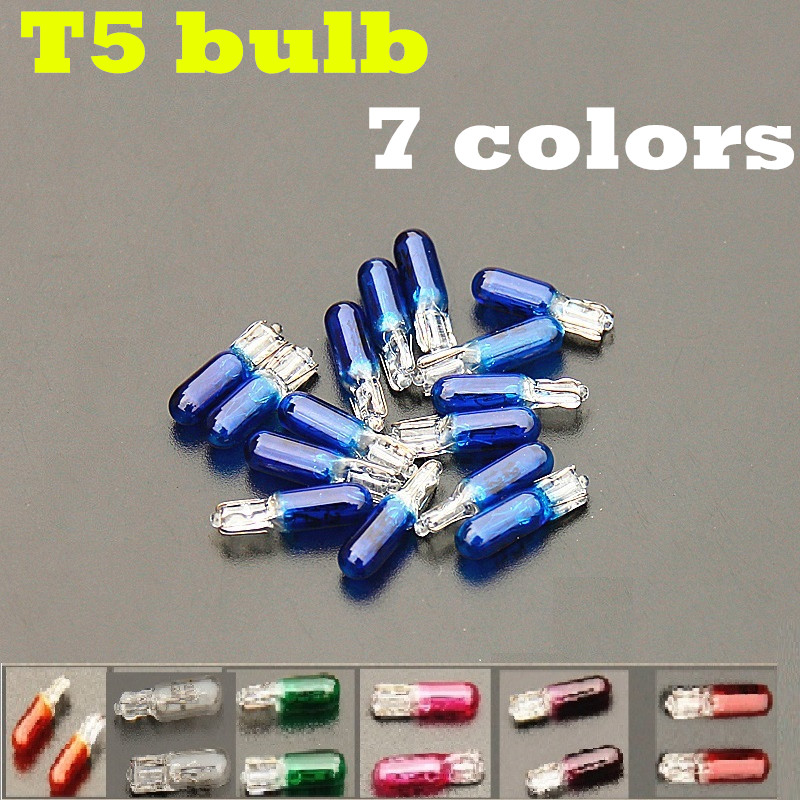 20pcs <font><b>T5</b></font> <font><b>12V</b></font> <font><b>1.2W</b></font> pink green red blue white purple amber glasses car interior bulb dash board lights halogen lamp image