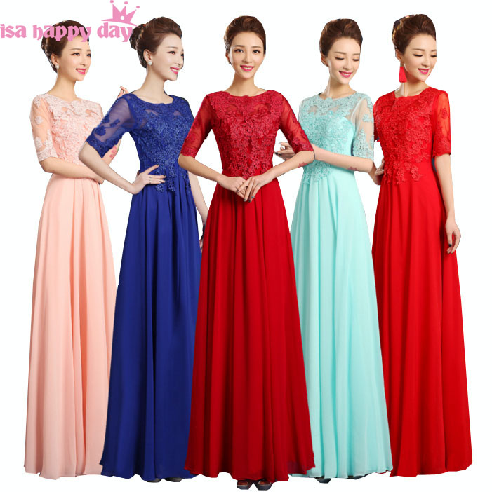 Long Lace And Chiffon Princess Adult Party Dress Elegant Illusion Neckline Bridesmaid Party Dresses With Sleeves 2019 W3580
