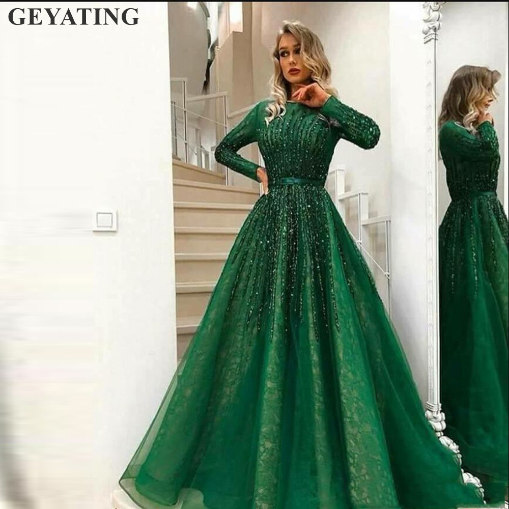 Vintage Lace Green Dubai   Evening     Dress   2019 Elegant Long Sleeves Arabic Muslim Prom   Dresses   Beading Crystal Formal Party Gowns