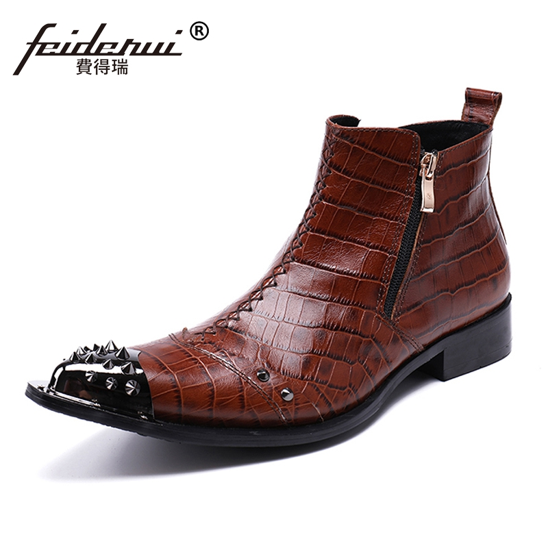Plus Size Pointed Toe Metal Tipped Man Handmade Cowboy Martin Shoes Genuine Leather High-Top Men's Riding Ankle Boots SL139 nikbea handmade genuine leather western boots cowboy large size women pointed toe boots 2016 autumn shoes fashion botas mujers