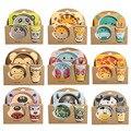 5 Pcs Cartoon Baby Schotel Servies Set Leuke Vork Voeden Gerechten voor Kids Gebruiksvoorwerpen Natuurlijke Bamboevezel Kom Met Cup lepel Plaat