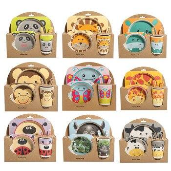 5 Pcs Del Bambino Del Fumetto Piatto Set Da Tavola Carino Forcella Piatti per I Bambini Utensili In Fibra di Bambù Naturale Ciotola di Alimentazione Con La Tazza cucchiaio Piatto
