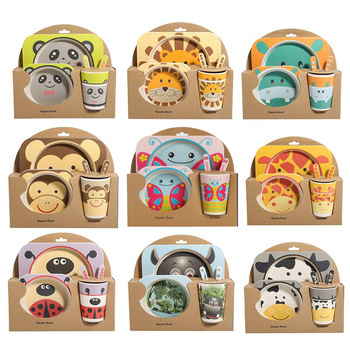 5 adet Karikatür Bebek Yemeği sofra seti Sevimli Çatal Besleme Yemekleri Çocuklar için Gereçleri Doğal Bambu fiber kase Bardak Kaşık Plaka