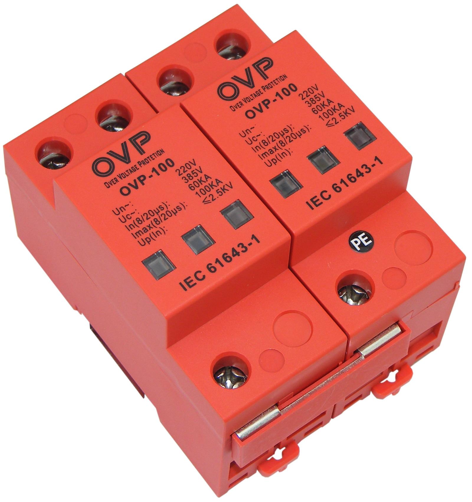 цена на 100KA220 Volt Power Supply Lightning Protection Module B Class 1 Single-phase Power Lightning Arrester OVP-100/2P