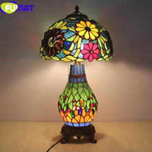 FUMAT Tiffany table lamps for the bedroom LED 12 Stained Glass shade Table Lamp Flower Grape Art Home Deco mariage Bedside Lamp fumat stained glass pendant lamps european style baroque lights for living room bedroom creative art shade led pendant lamp