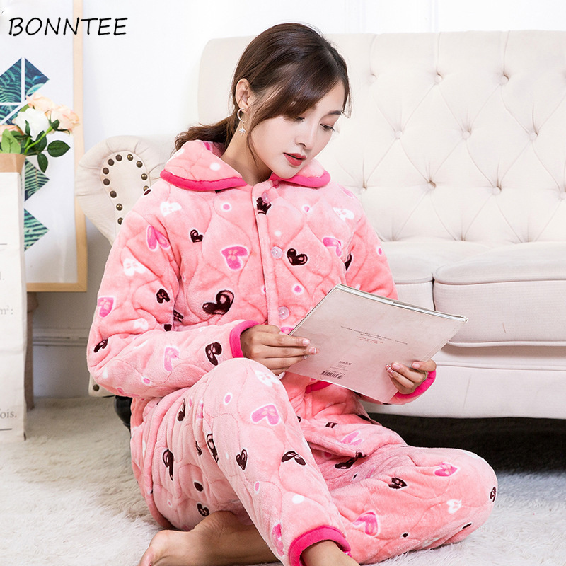 Pajama     Sets   Women Winter Warm Flannel Cartoon Printed Long Sleeves Pockets Womens   Pajamas     Set   Soft Kawaii Trendy Chic Lovely New