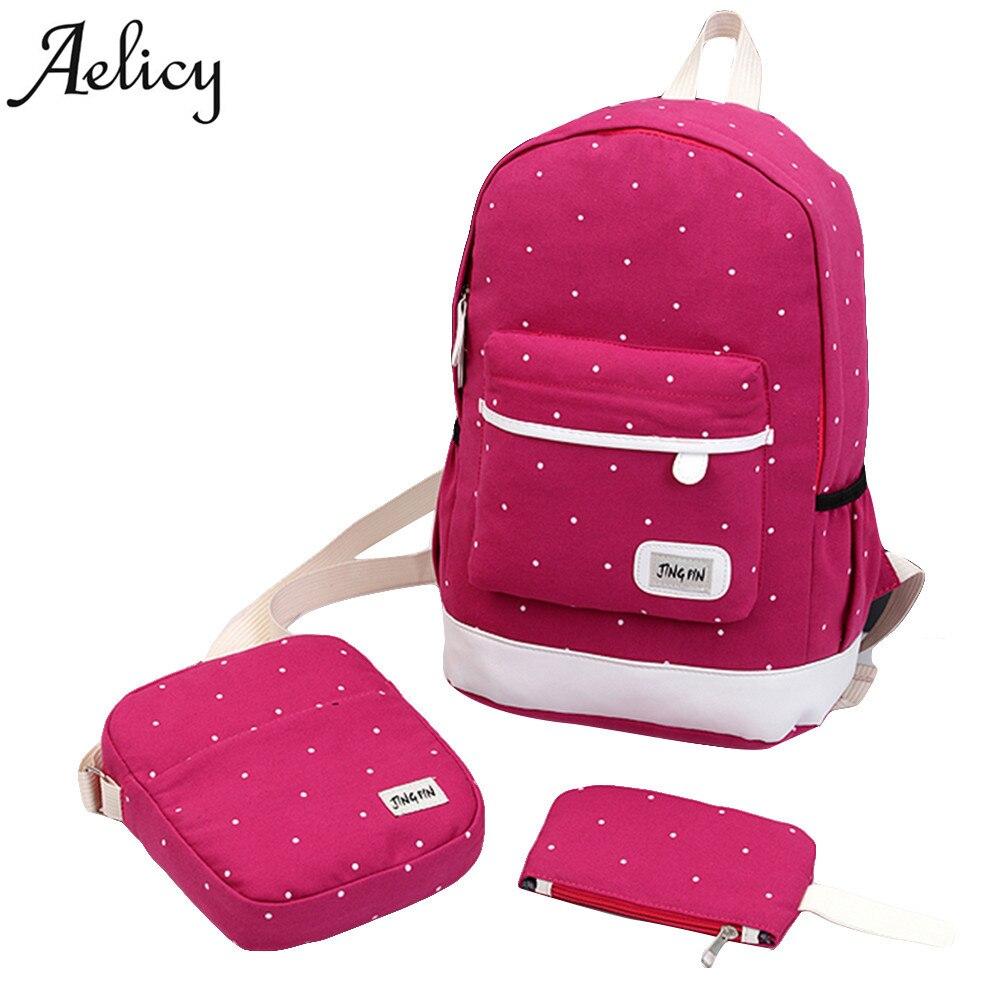 Canvas Backpack Teenagers Preppy Style Composite Bags  Female Backpacks 3 Set Travel Dot School Bag