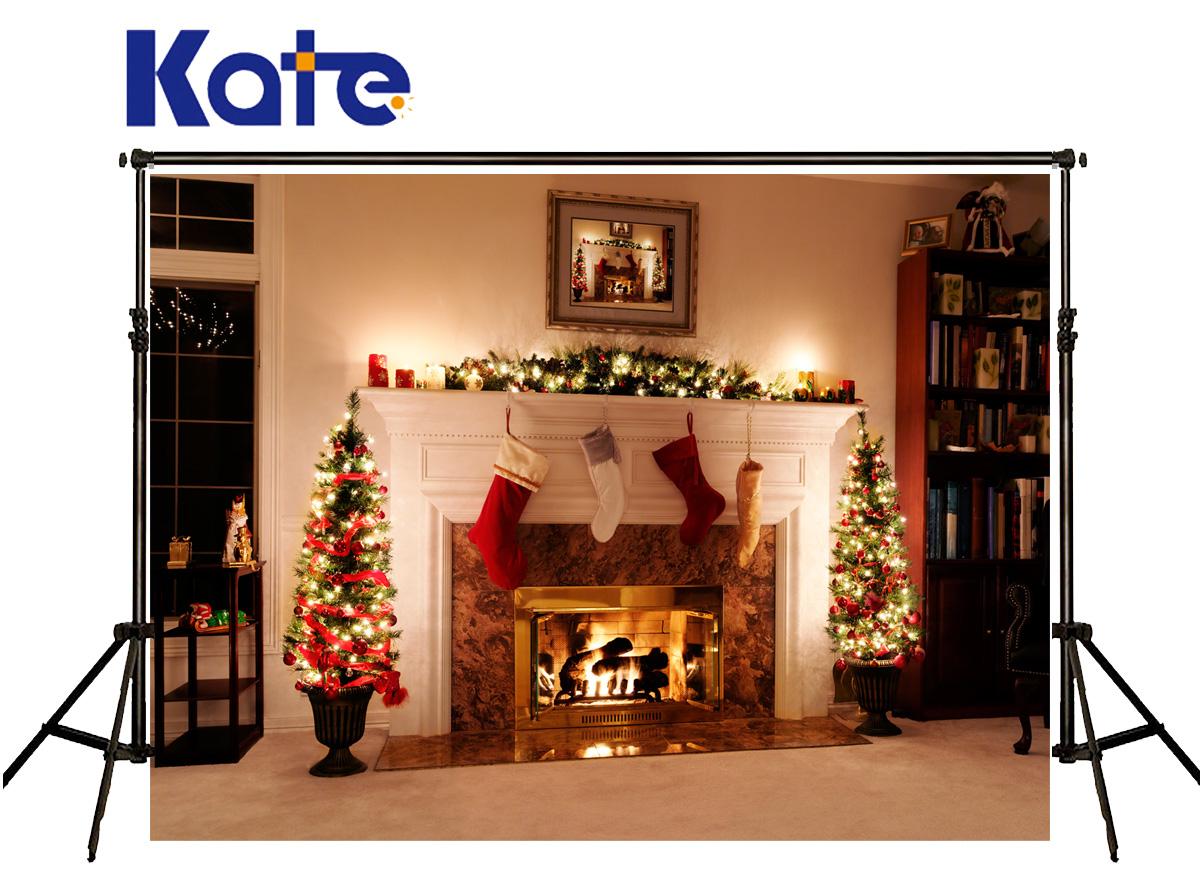 kate photography backdrop christmas fireplace stove sock photography backdrops frame candle indoor fundo fotografico