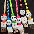 20 шт./лот Симпатичные Выражение Лица USB Зарядное Устройство Кабель Протектор Красочные Наушники USB Кабель для Передачи Данных Для iPhone Samsung HTC