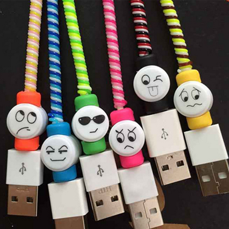 20pcs/lot Cute Facial Expression USB Charger Cable Protector Colorful Earphones USB Data Cable Cover For iPhone Samsung HTC