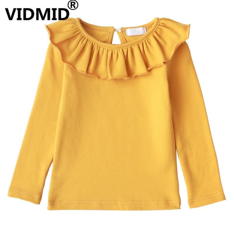 VIDMID Kids T-Shirts Long-Sleeve Tees Solid-Tops Girls Cotton Children 13 4006