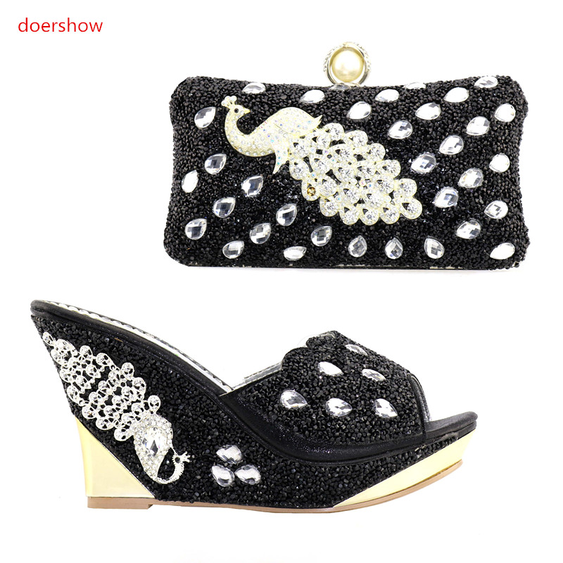 doershow High Quality black Shoes And Bags To Match African Shoes and Bag Sets Italian Shoes Matching With Bags for party NJ1-20 beautiful italian shoes with matching bags to match new african shoes and matching bag sets for wedding doershow hvb1 49