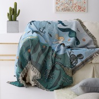 Double sides reversible cute mermaid blanket,130*160cm durable wearable comforter, sofa cover cloth, pet blankets ,floor mat