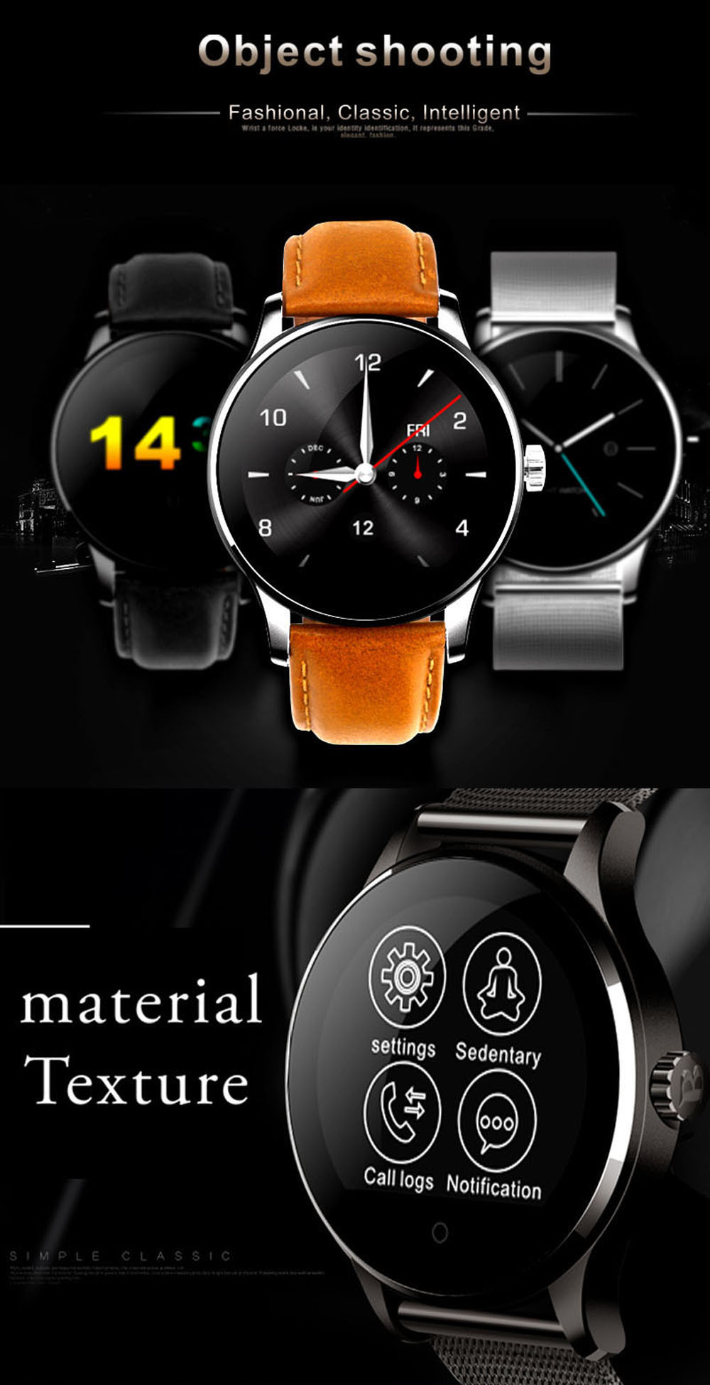 Makibes K88H Bluetooth Smart Watch Classic Health Metal Smartwatch Heart Rate Monitor for Android ISO Phone Remote Camera Clock 22