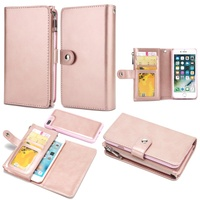 For IPhone 7 8 Plus Case Detachable 2 In 1 Double Side Pockets Leather Zipper Wallet