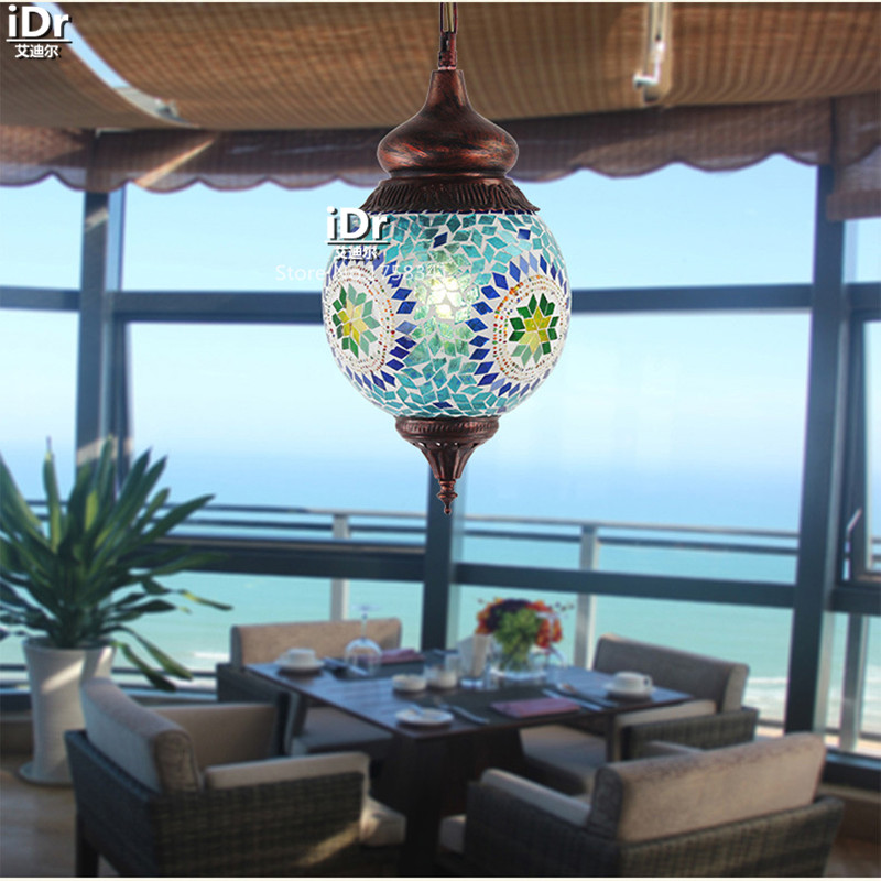 southeast asian style colored mosaic glass lamp smd creative living room lamp iron restaurant pendant lights asian lighting