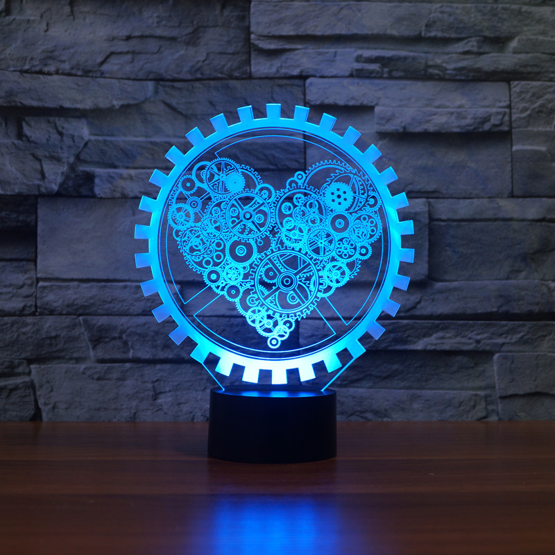 3D LED Night Light Gear Love Heart USB Touch Switch Steampunk Style Heart Table Lamp Luminaria de Mesa Home Decor Gift Toy white rotating rechargeable led talbe lamp usb micro charging eye protection night light dimmerable bedsides luminaria de mesa