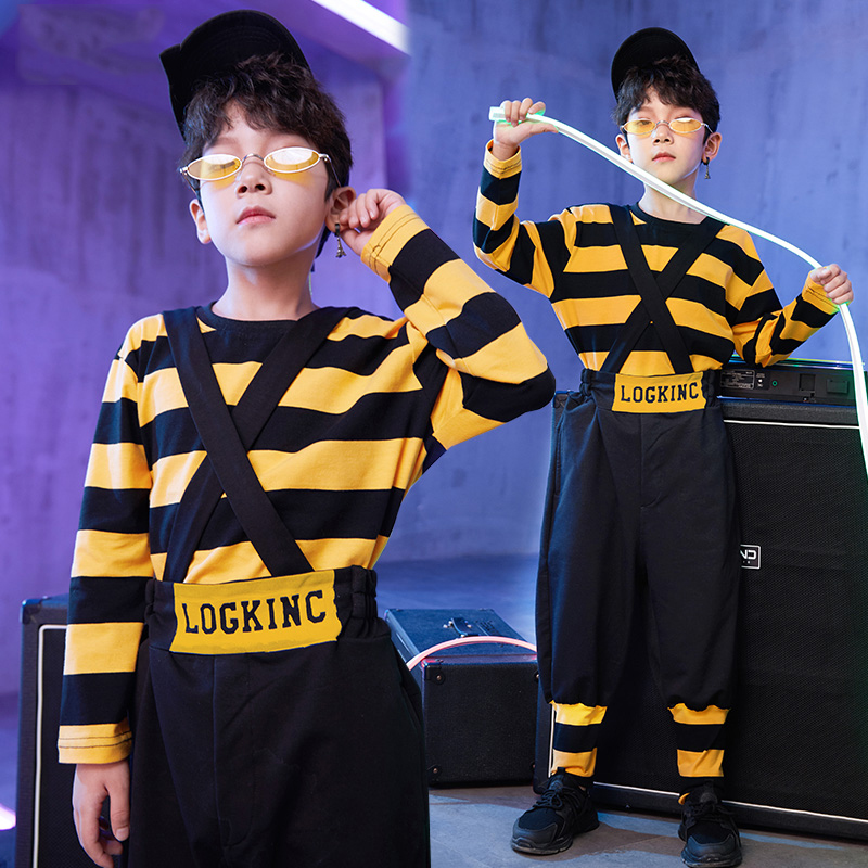 Hip Hop Kids Yellow Striped Long Sleeve Bib Pants Girls Jazz Costume Street Dance Clothing Children Stage Show Dancewear DN2769