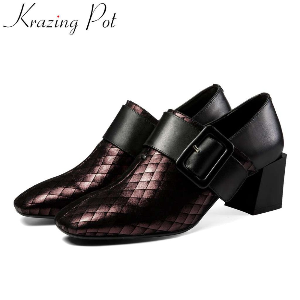 Krazing pot European style genuine leather classic square toe chunky med heels buckle strap mixed colors plus size pumps L27Krazing pot European style genuine leather classic square toe chunky med heels buckle strap mixed colors plus size pumps L27