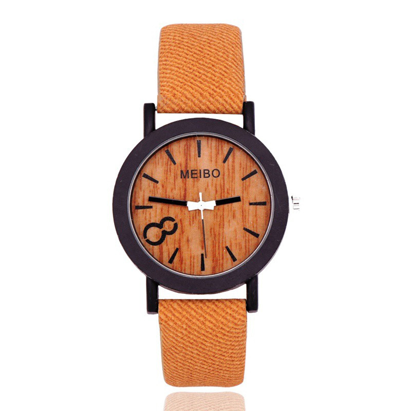 Luxury Women Watches New Fashion Casual Imitation Wood Quartz Watch Women Simple Waterproof Leather Wrist Watch Relogio Feminino