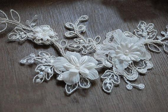 Bridal Hair Flower, Bridal Headpiece Applique, Alencon Lace Applique for Wedding Veil, DZDH005 10pieces