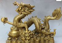 wan671025+++18 Chinese Brass Decoration Mascot Auspicious Dragon Ball Treasure Bowl Statue