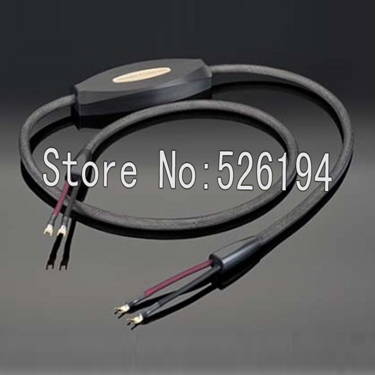 Free shipping 3meter pair transparent musicwave ultra audio speaker cable with Gold plated Y spade