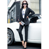 Hot Selling Custom Made Black Fashion Elegant Business Formal Office Suits Wear Women Long Sleeve Suit