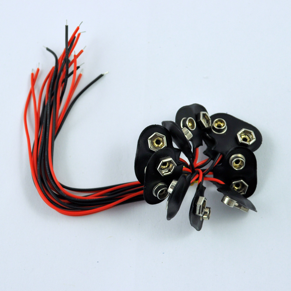 JFBL Hot sale 10Pcs Black Faux Leather Shell T Type Wired 9V Battery Clip Connector