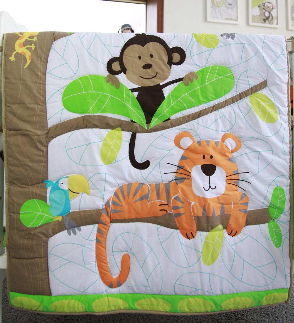 Tropical B Font Animal World Baby Bedding Set Cot Crib Bedding Set For