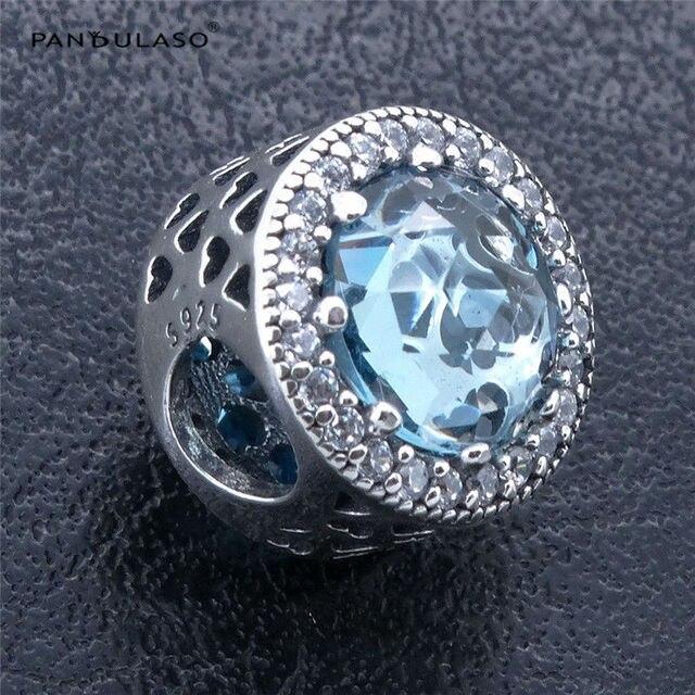 Pandulaso Ghiacciaio Blu Radiant Cuori Bead 925 Sterling Silver perline Gioielli FAI DA TE Che Fanno Fit Argento Charm Bracelet & Necklace
