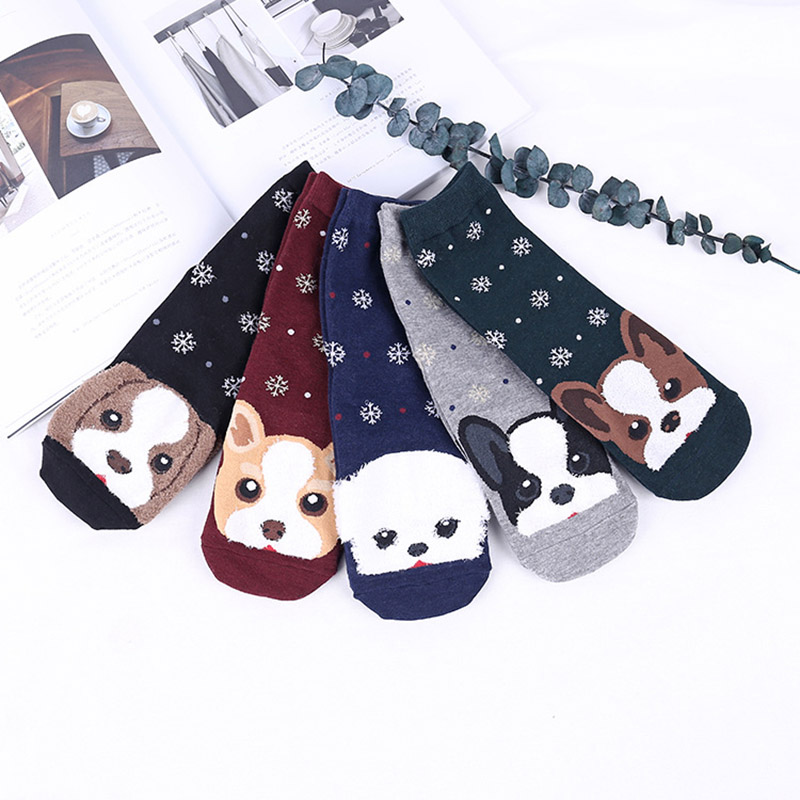 Lovely Dog Prints Cotton Women Short Socks Cartoon Prints New Years Socks Ladies Warm Casual Girls Unisex Socks
