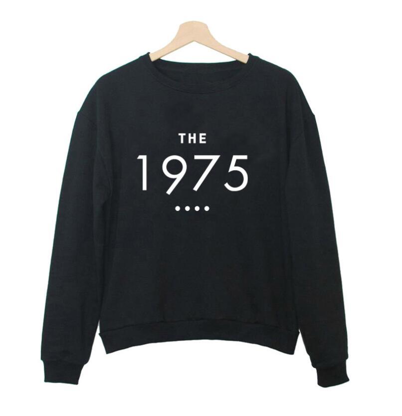 harajuku style THE 1975 letters sweatshirt women autumn o neck hoodies casual black white pullovers moleton