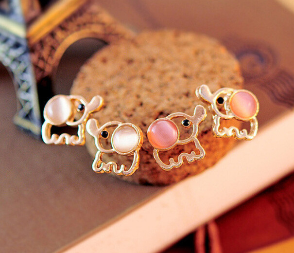 Cute Baby Elephant Opal Earrings
