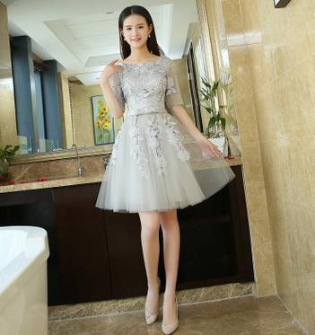 ruthshen Cheap Cocktail Party Dresses 2018 Half Sleeves Lace Appliques Ruched Short Prom Dress Robe De Cocktail Longue
