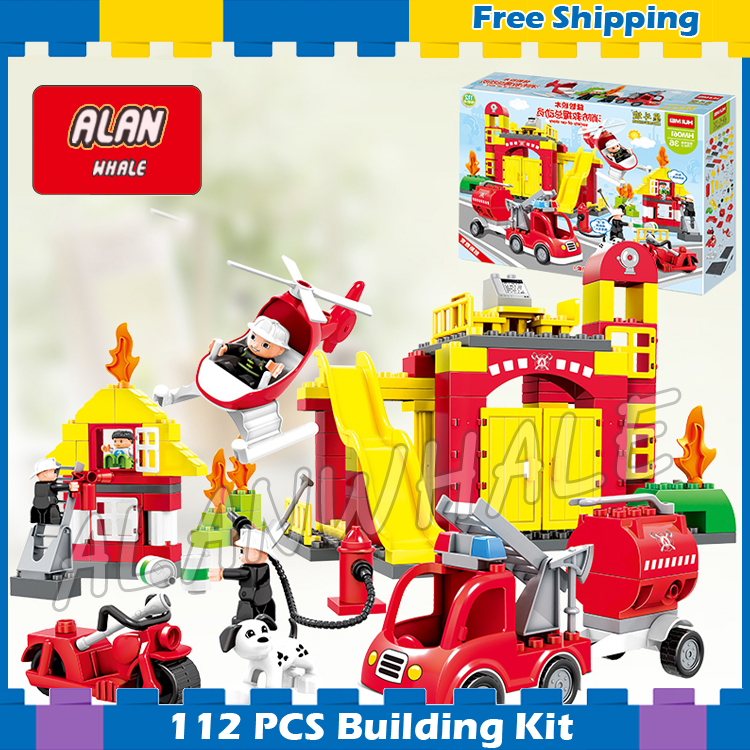 112pcs Town Fire Truck My First Fire Station Kit Model Building Blocks Bricks Kids Toys Gifts Sets Compatible With Lego Duplo